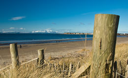 Snow-capped mountains on Island of Arran. Viewed from Troon beach, Ayrshire, Scotland, UK Royalty Free Stock Images