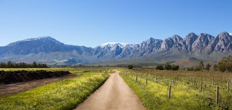 Snow capped mountains panoramic view in South Africa. Ceres Mountains, Western Cape, South Africa - August 11th, 2018. Panoramic view of the snow covered stock photography