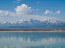 Snow capped mountains reflected in blue lake Royalty Free Stock Image
