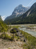 Snow capped mountains and river valley Royalty Free Stock Image