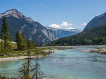 Snow capped mountains and river valley. Snow capped mountains frame the Yoho River Valley in Yoho National Park, British Columbia, Canada Royalty Free Stock Photo