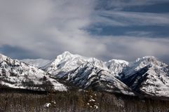 Snow capped mountains in the Rocky Mountains, Alberta, Canada.  stock photography
