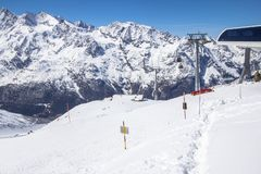 Ski station on top of the mountain Stock Image