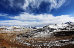 Snow capped mountains. Tibet is full of spectacular snow capped mountains in China. There sanctity embellished with white snowy mountains. Man stands miniscule Royalty Free Stock Image