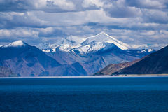 Snow Capped Mountains in Tibet, Panging Tso, Himalayas, India Stock Images