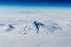 Snow-capped mountains - view from above Royalty Free Stock Photography
