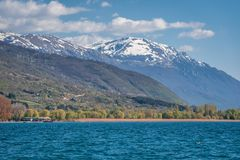 Snow capped peaks around Lake Ohrid. Republic of Macedonia royalty free stock images