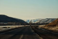 Snow-capped peaks of the Ural Mountains stock photography