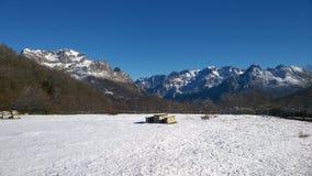 Snow-capped Picos de Europa、卡斯提尔和利昂,西班牙 免版税库存照片