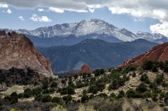 Snow-capped Pike`s Peak in Colorado royalty free stock photography