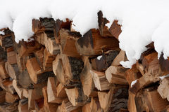 Snow-capped pile of wood Royalty Free Stock Image