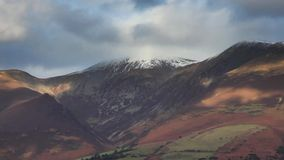 Snow Capped Skiddaw. A timelapse recordng of Skiddaw a mountain in Cumbria in the English Lake District National Park. Skiddaw is the fourth highest mountain in stock video footage