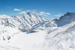 Snow capped Swiss Alps mountain at Jungfrau, Switzerland. Snow capped mountains view at Jungfrau viewpoint which is called Top of Europe in Switzerland Stock Image