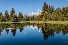 Snow Capped Tetons at Schwabachers Landing stock photography