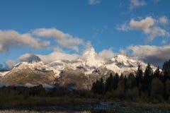 Snow Capped Tetons at Sunrise Stock Photo