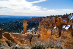Snow Capped Thor`s Hammer. Thor`s Hammer in Bryce Canyon after spring snowfall stock image