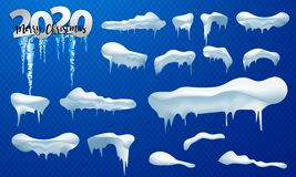 2020 Snow caps, snowballs and snowdrifts set. Snow cap vector collection. Winter decoration element. Snowy elements on winter. Snow caps, snowballs and stock illustration