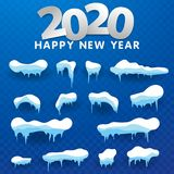 2020 Snow caps, snowballs and snowdrifts set. Snow cap vector collection. Winter decoration element. Snowy elements on winter. Snow caps, snowballs and vector illustration