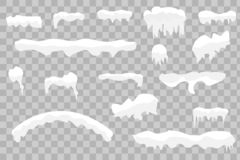 Snow caps, snowballs and snowdrifts set. . Snow caps, snowballs and snowdrifts set. Snow cap vector collection. Winter decoration element. Snowy elements on royalty free illustration