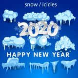 2020 Snow caps, snowballs and snowdrifts set. Snow cap vector collection. Winter decoration element. Snowy elements on. Snow caps, snowballs and snowdrifts set vector illustration