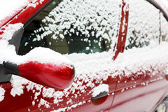 Snow on the car Stock Photo