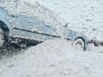 Snow car accident slipped into the ditch Royalty Free Stock Photography