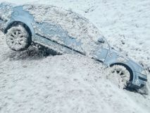 Snow car accident slipped into the ditch Royalty Free Stock Photos