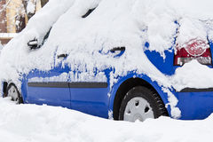 Snow on the car Royalty Free Stock Image