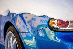 Snow on a car light Royalty Free Stock Photography