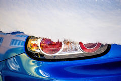 Snow on a car light Stock Images