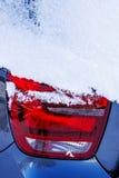 Snow on a car light Stock Photos