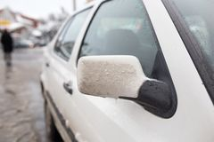 Snow on the car in the winter on the nature.  Royalty Free Stock Photos