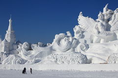 Snow Carving Stock Photo