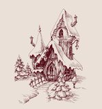 Snow castle drawing. Fantasy house Royalty Free Stock Photos