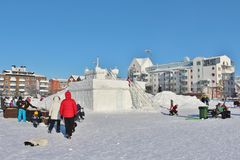 The snow castle in South Harbour in Luleå Royalty Free Stock Photo