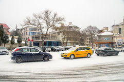 Snow in the central square of Pomorie, Bulgaria stock image