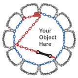 Snow chain with place for your object  with image editor Stock Photos
