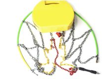 Snow chains for cars on the white background. Snow chains for cars on the white background Stock Photo