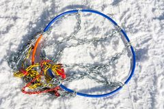 Snow chains on the road Royalty Free Stock Images