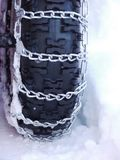 Snow chains tyre Royalty Free Stock Image