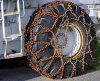 Snow chains on wheel Royalty Free Stock Photography