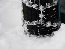 Snow chains winter Royalty Free Stock Photo