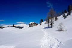 Snow Chalet Mountain Landscape sun winter. Snow Chalet Mountain Landscape sun at winter Stock Photography