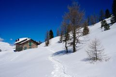 Snow Chalet Mountain Landscape sun winter. Snow Chalet Mountain Landscape sun at winter Stock Photos