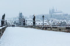 Snow on Charles Bridge, winter 2015 Prague, Czech Republic Royalty Free Stock Photos