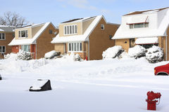 Snow in a Chicago neighborhood. A neighborhood in Chicago covered with snow after the blizzard Stock Image
