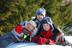Snow Children Stock Image