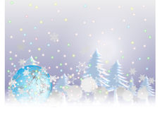Snow chistmas background. Ball floating on the sky with snow on Christmas Stock Image
