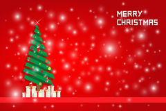 Snow and chrismas tree with gift boxes. On red backgound Stock Photography
