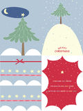 Snow Christmas cards. Four cards by winter holidays with white snowdrifts Stock Photography